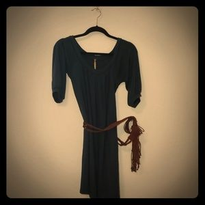 Balloon Sleeve Sweater Dress with brown belt